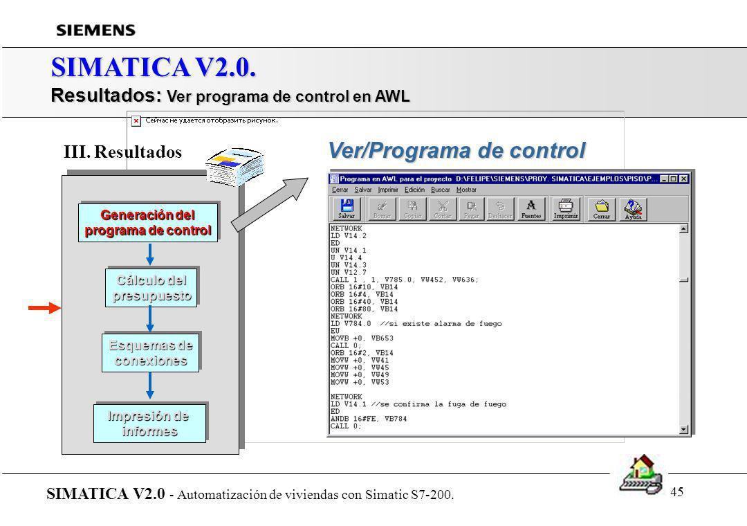 SIMATICA V2.0. Resultados: Ver programa de control en AWL
