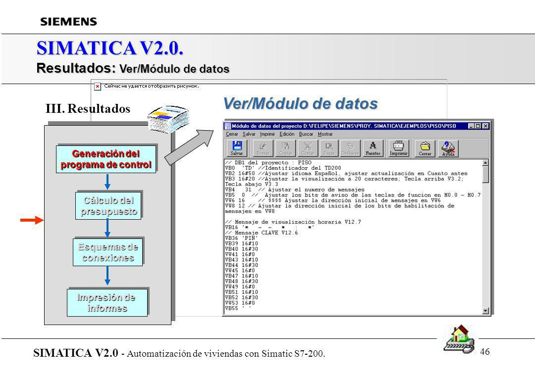 SIMATICA V2.0. Resultados: Ver/Módulo de datos Ver/Módulo de datos