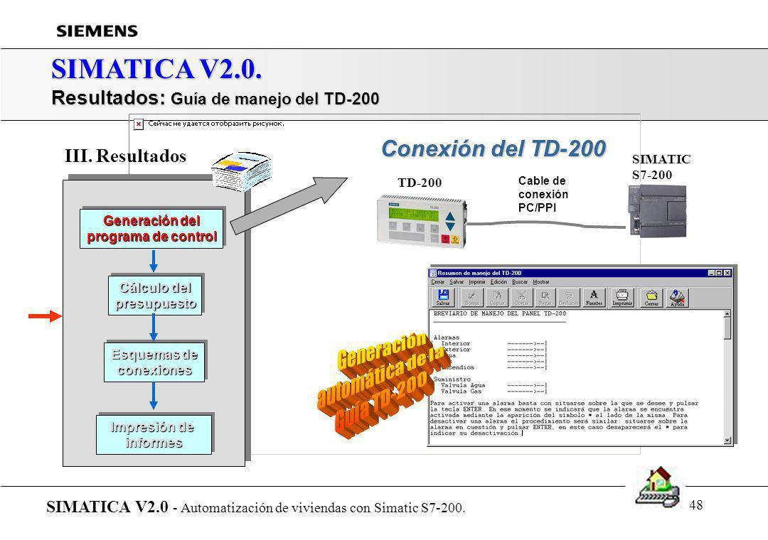 SIMATICA V2.0. Resultados: Guía de manejo del TD-200