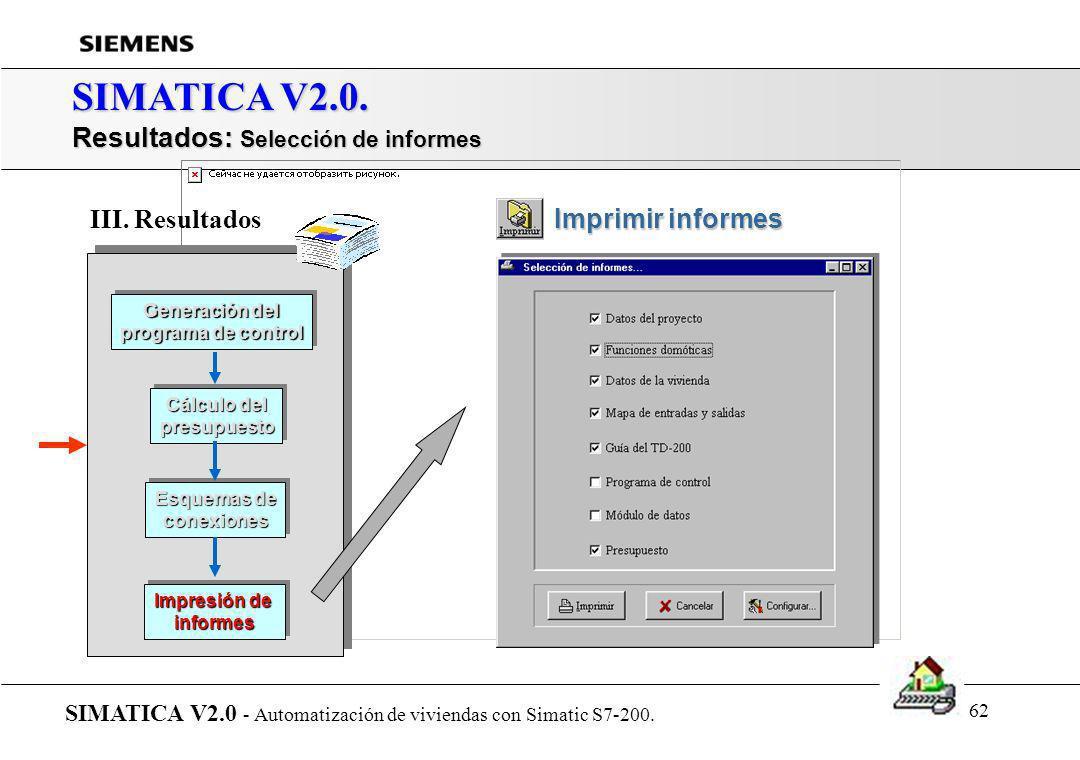 SIMATICA V2.0. Resultados: Selección de informes III. Resultados