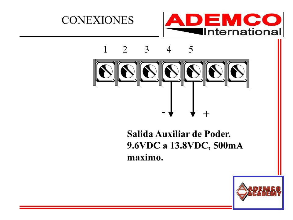 CONEXIONES - + 1 2 3 4 5 Salida Auxiliar de Poder.