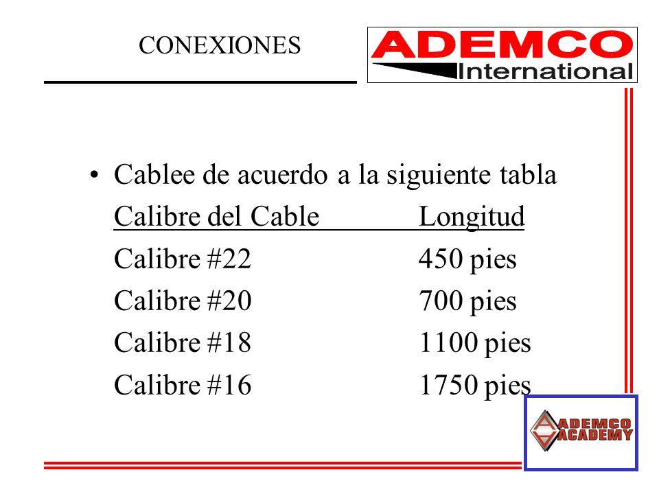 Cablee de acuerdo a la siguiente tabla Calibre del Cable Longitud