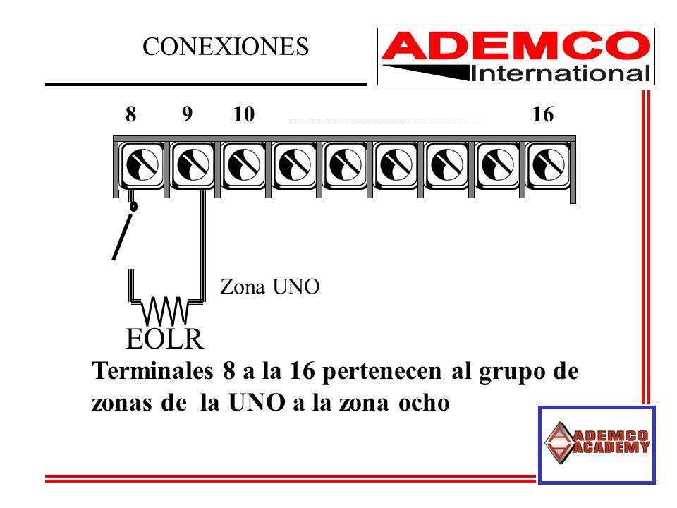 EOLR CONEXIONES Terminales 8 a la 16 pertenecen al grupo de