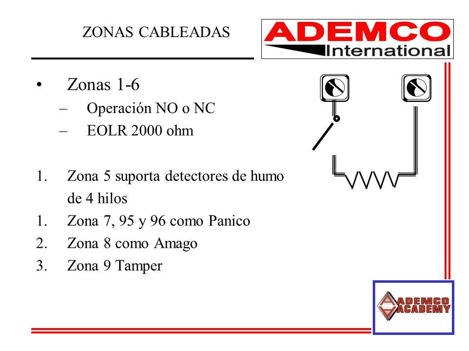 Zonas 1-6 ZONAS CABLEADAS Operación NO o NC EOLR 2000 ohm