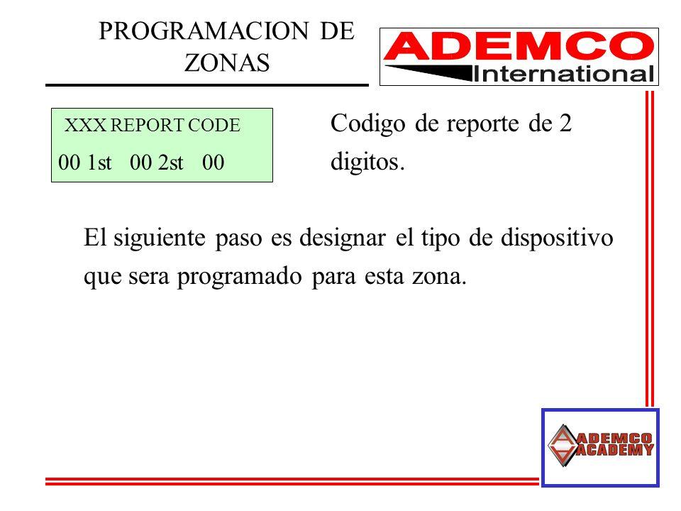 XXX REPORT CODE Codigo de reporte de 2