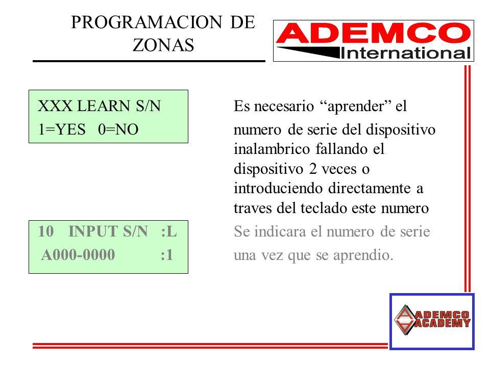 PROGRAMACION DE ZONAS XXX LEARN S/N Es necesario aprender el