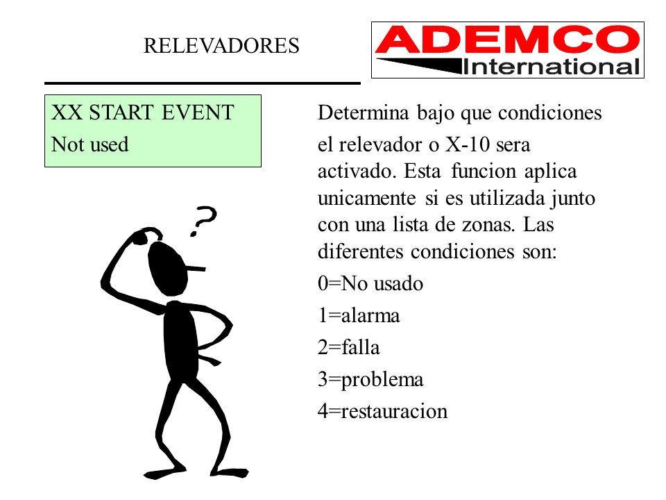 RELEVADORES XX START EVENT Determina bajo que condiciones.