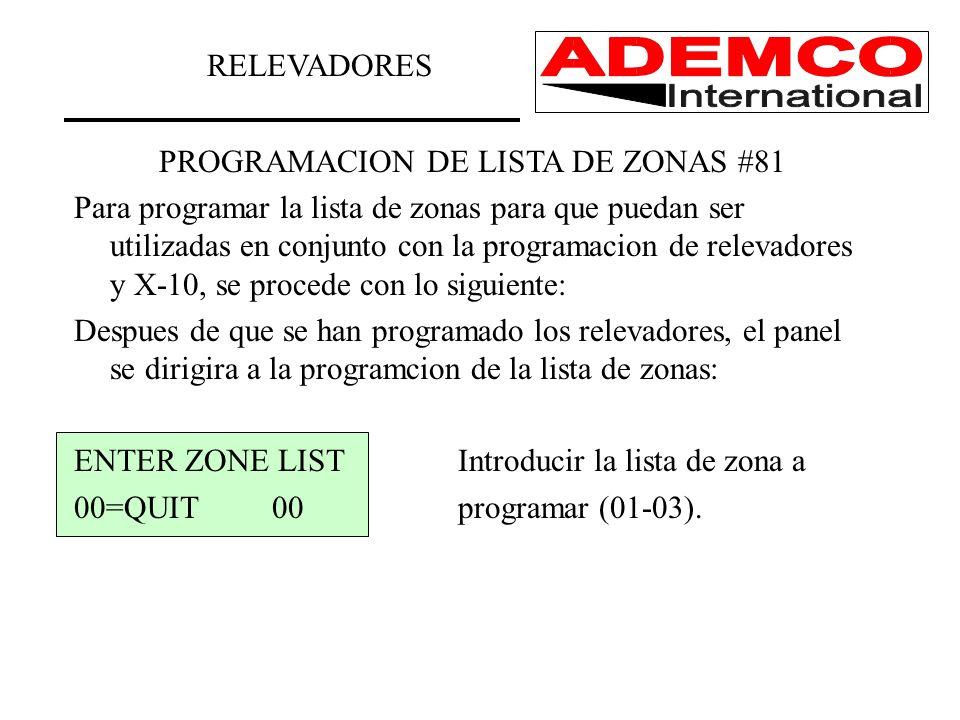 PROGRAMACION DE LISTA DE ZONAS #81