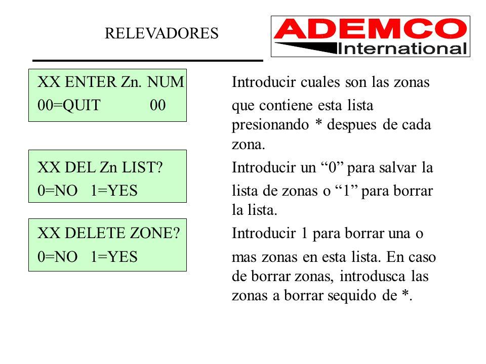 RELEVADORES XX ENTER Zn. NUM Introducir cuales son las zonas.