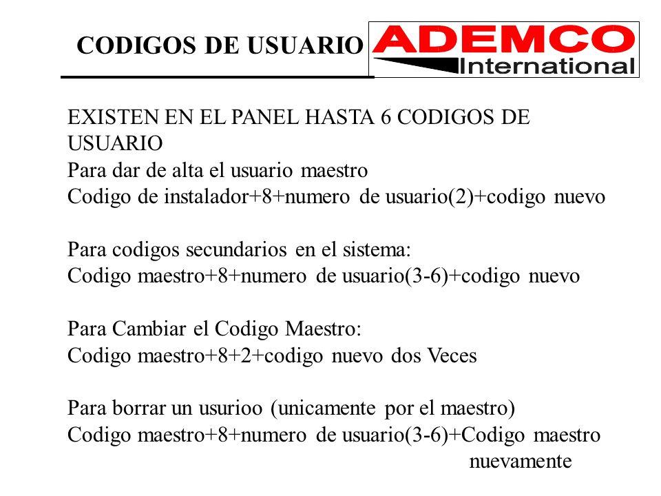 CODIGOS DE USUARIO EXISTEN EN EL PANEL HASTA 6 CODIGOS DE USUARIO