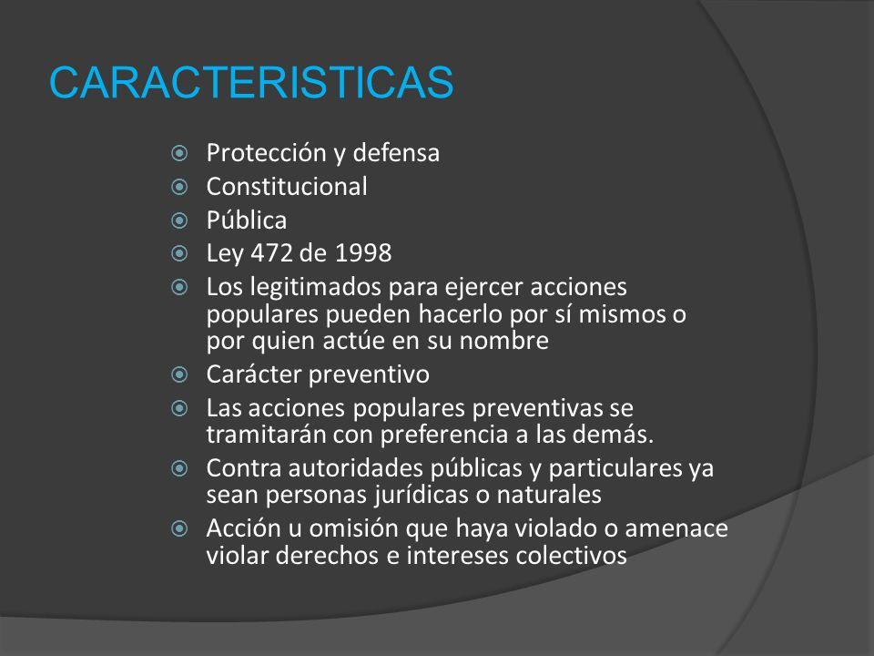 CARACTERISTICAS Protección y defensa Constitucional Pública