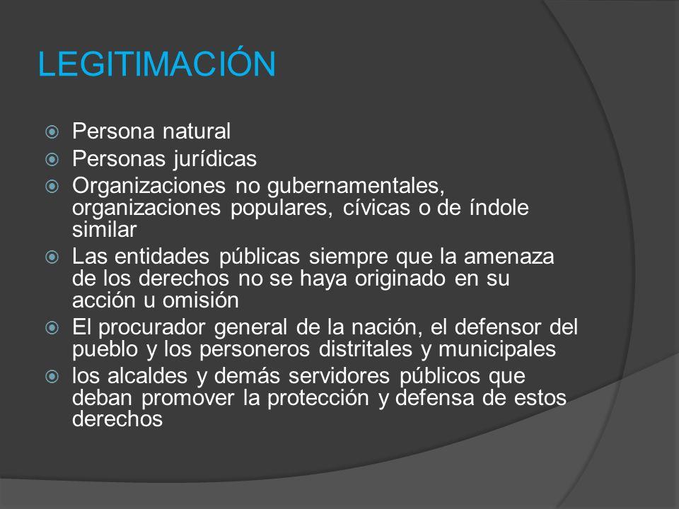 LEGITIMACIÓN Persona natural Personas jurídicas