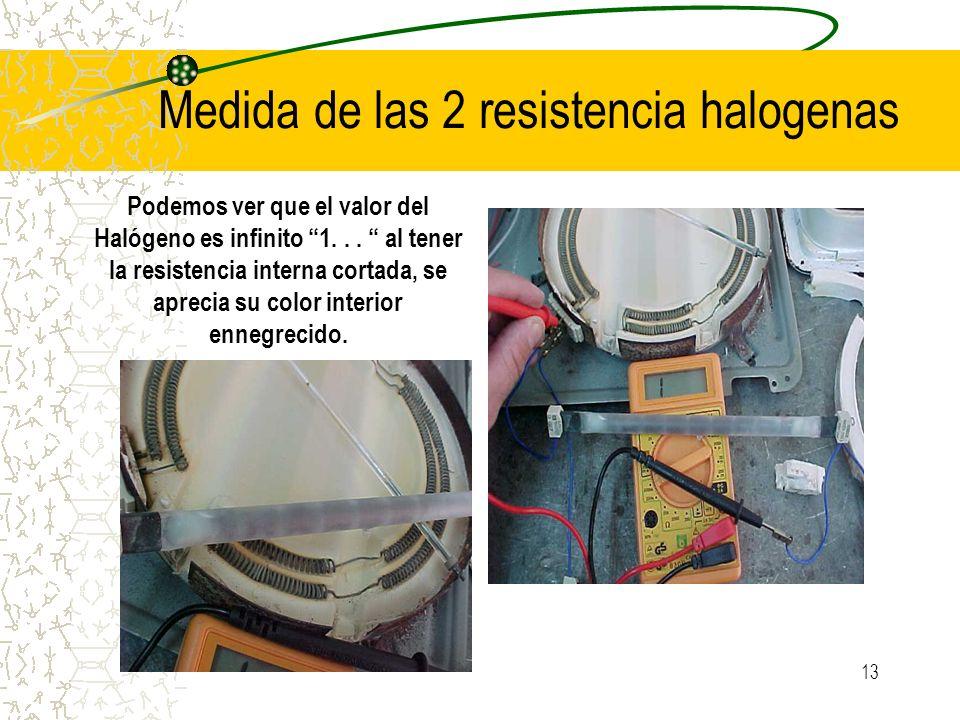 Medida de las 2 resistencia halogenas