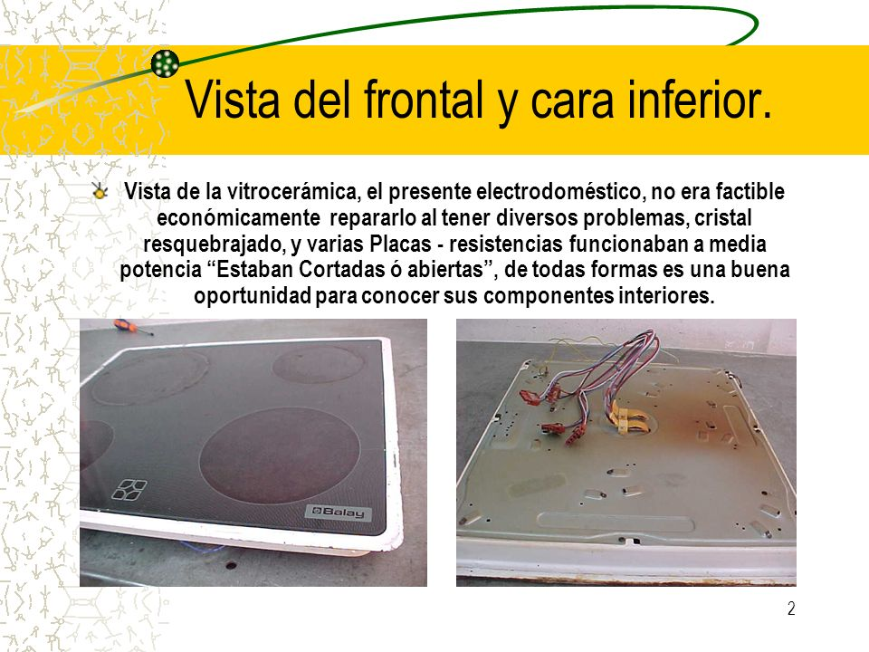 Vista del frontal y cara inferior.