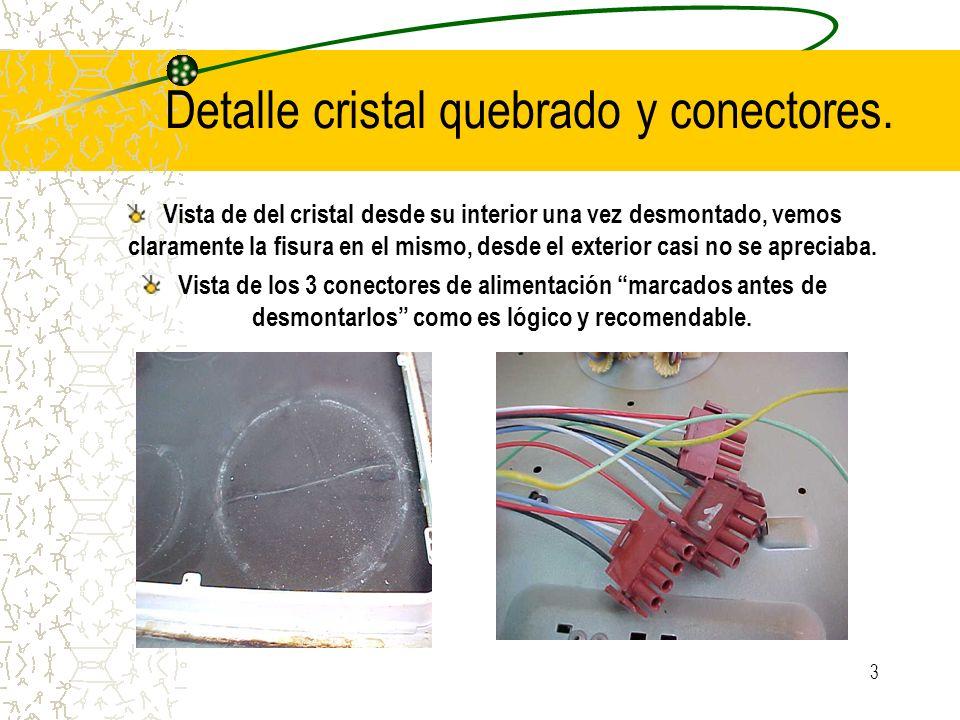 Detalle cristal quebrado y conectores.