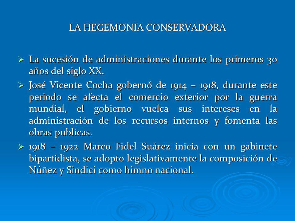 LA HEGEMONIA CONSERVADORA