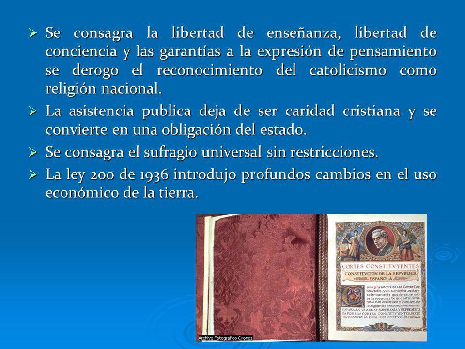 Se consagra la libertad de enseñanza, libertad de conciencia y las garantías a la expresión de pensamiento se derogo el reconocimiento del catolicismo como religión nacional.