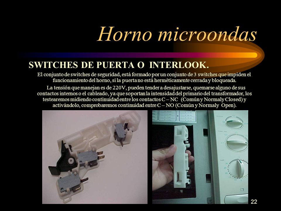 Horno microondas SWITCHES DE PUERTA O INTERLOOK.