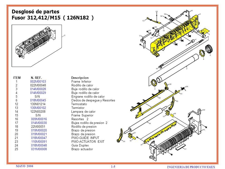 Desglosé de partes Fusor 312,412/M15 ( 126N182 )