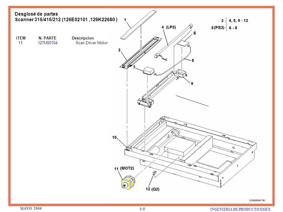Desglosé de partes Scanner 315/415/212 (126E02101 ,126K22680 )
