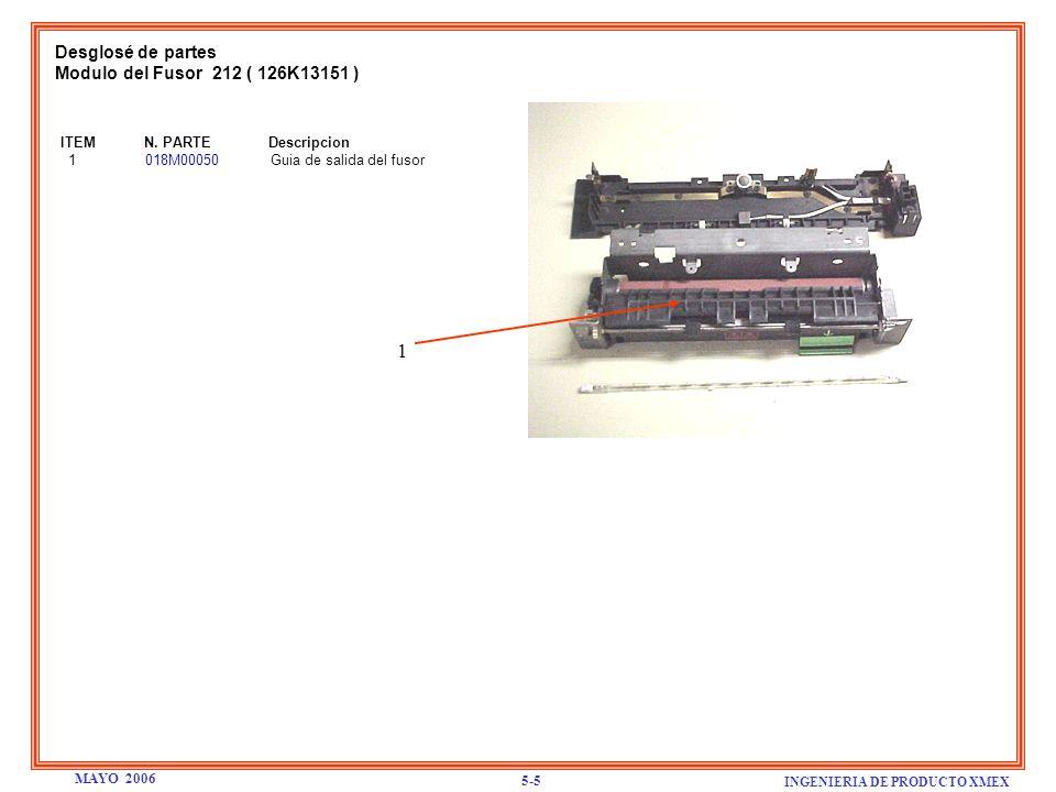 1 Desglosé de partes Modulo del Fusor 212 ( 126K13151 )