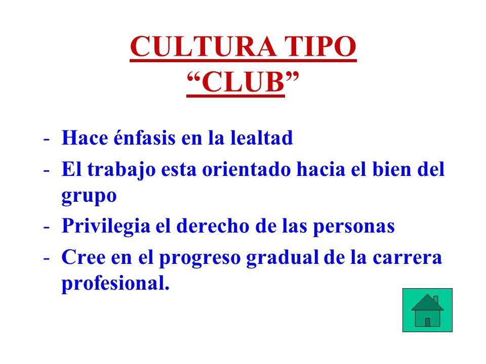 CULTURA TIPO CLUB Hace énfasis en la lealtad