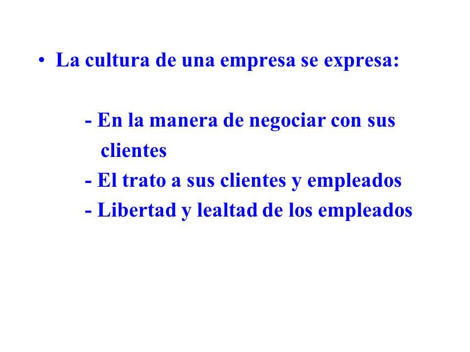 La cultura de una empresa se expresa: