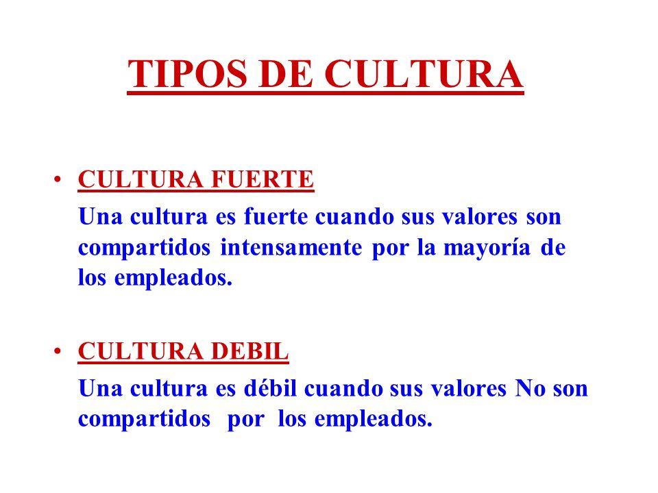 TIPOS DE CULTURA CULTURA FUERTE