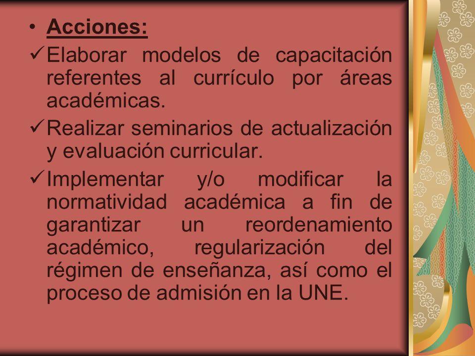 Acciones: Elaborar modelos de capacitación referentes al currículo por áreas académicas.