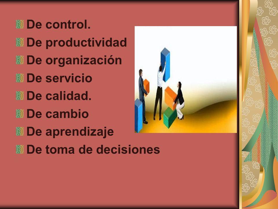 De control. De productividad. De organización. De servicio. De calidad. De cambio. De aprendizaje.