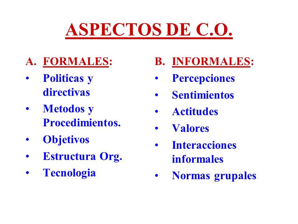 ASPECTOS DE C.O. FORMALES: Politicas y directivas