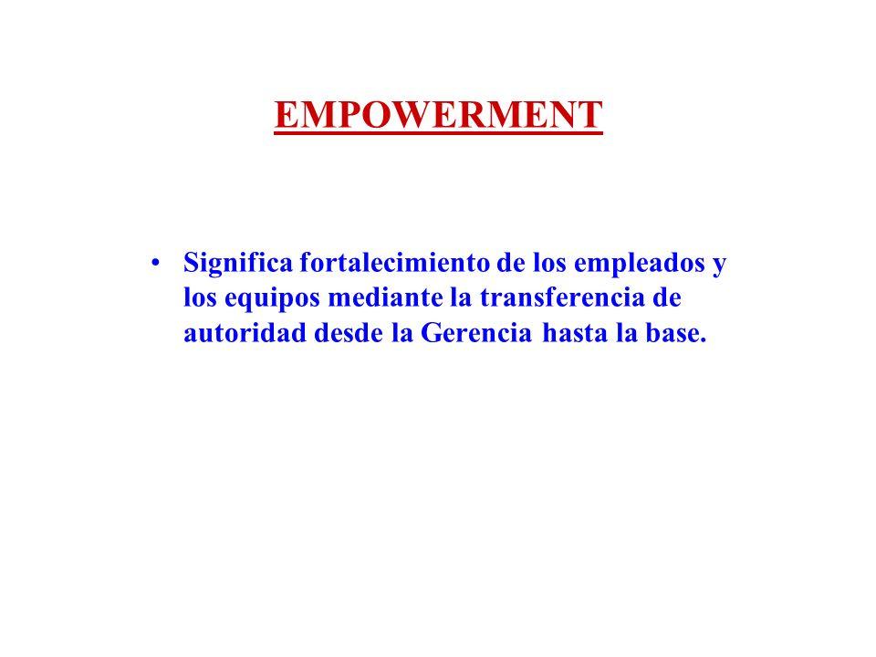 EMPOWERMENTSignifica fortalecimiento de los empleados y los equipos mediante la transferencia de autoridad desde la Gerencia hasta la base.