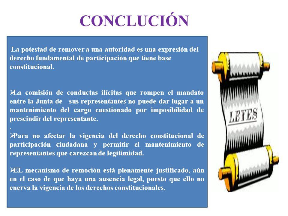 CONCLUCIÓN La potestad de remover a una autoridad es una expresión del derecho fundamental de participación que tiene base constitucional.