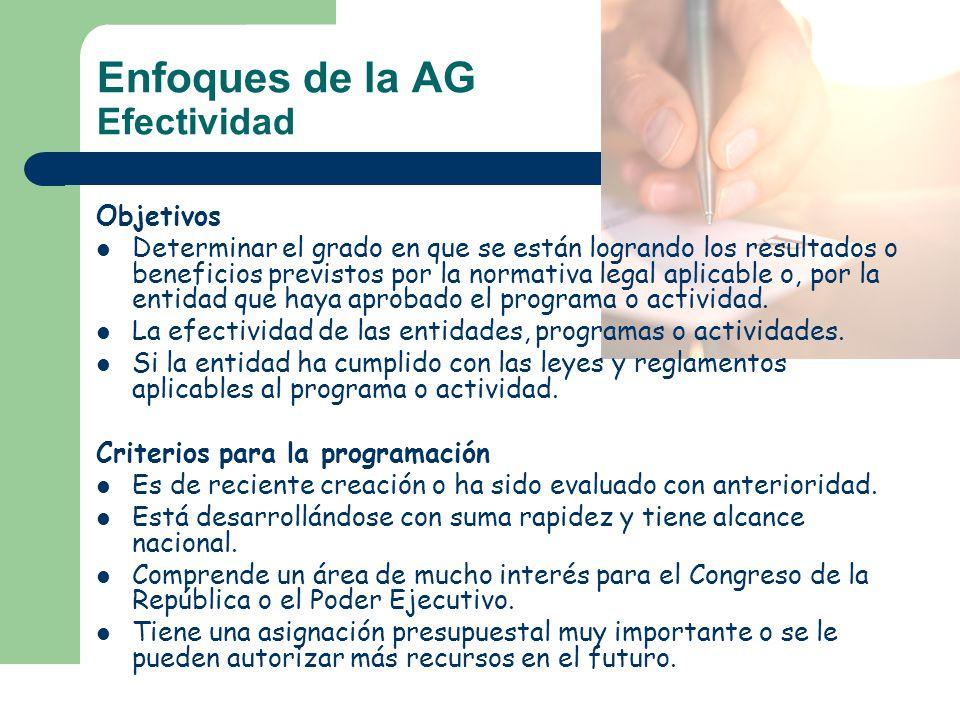 Enfoques de la AG Efectividad
