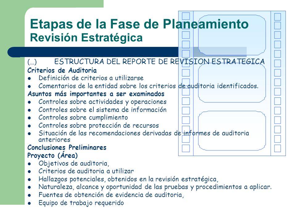 Etapas de la Fase de Planeamiento Revisión Estratégica