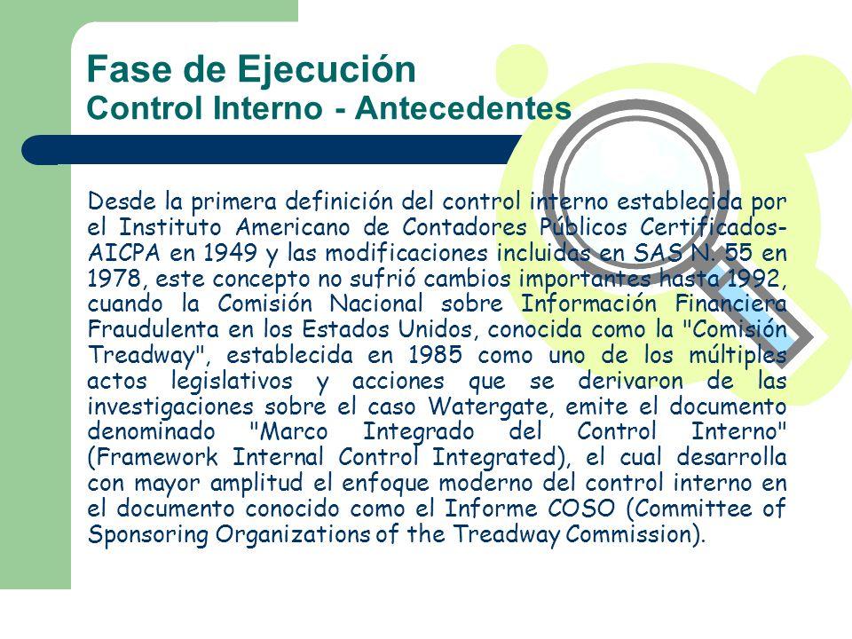 Fase de Ejecución Control Interno - Antecedentes