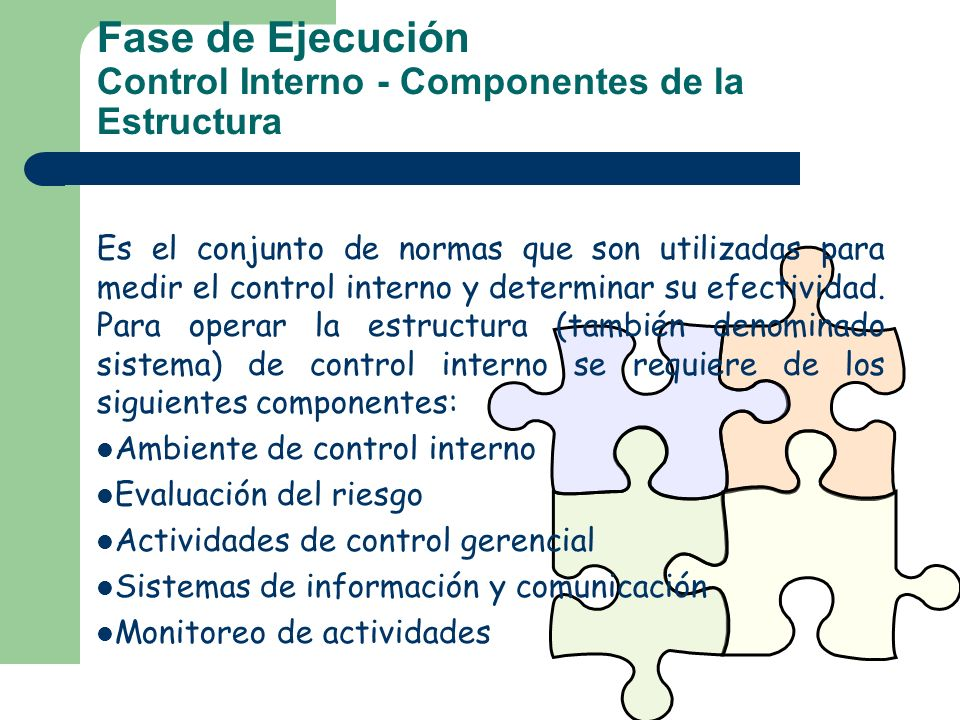 Fase de Ejecución Control Interno - Componentes de la Estructura
