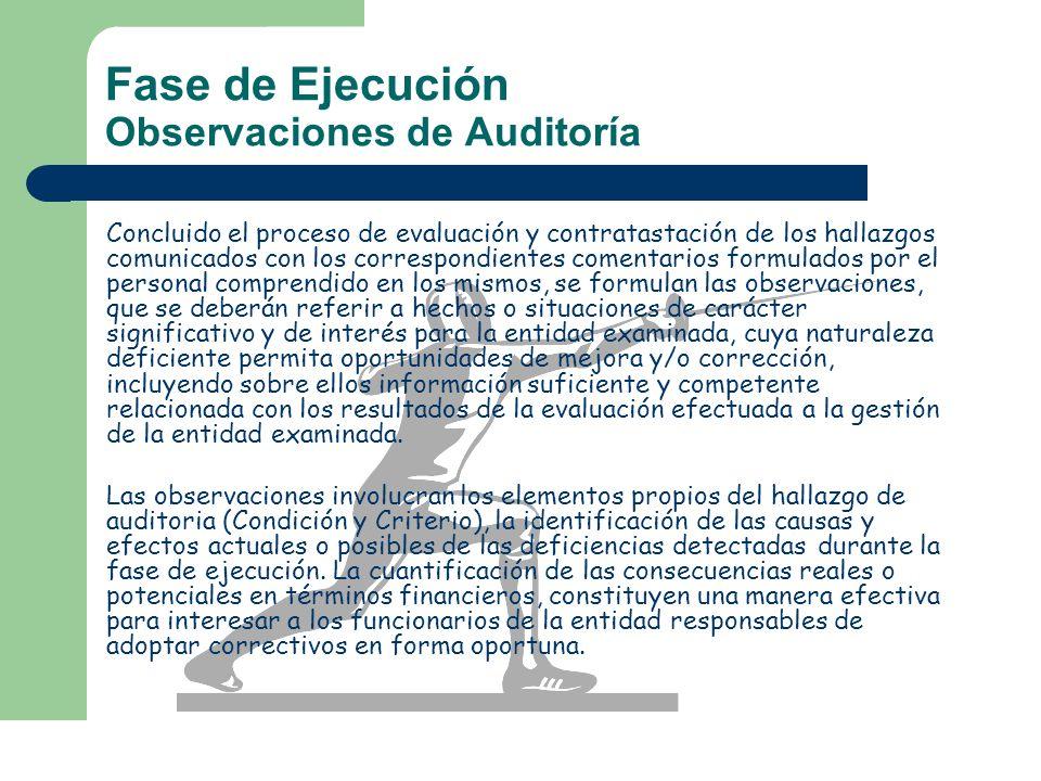 Fase de Ejecución Observaciones de Auditoría