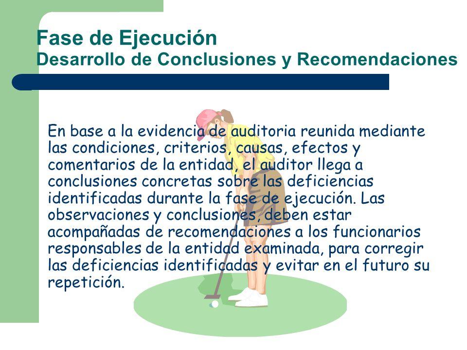 Fase de Ejecución Desarrollo de Conclusiones y Recomendaciones