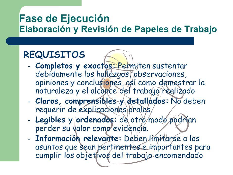 Fase de Ejecución Elaboración y Revisión de Papeles de Trabajo