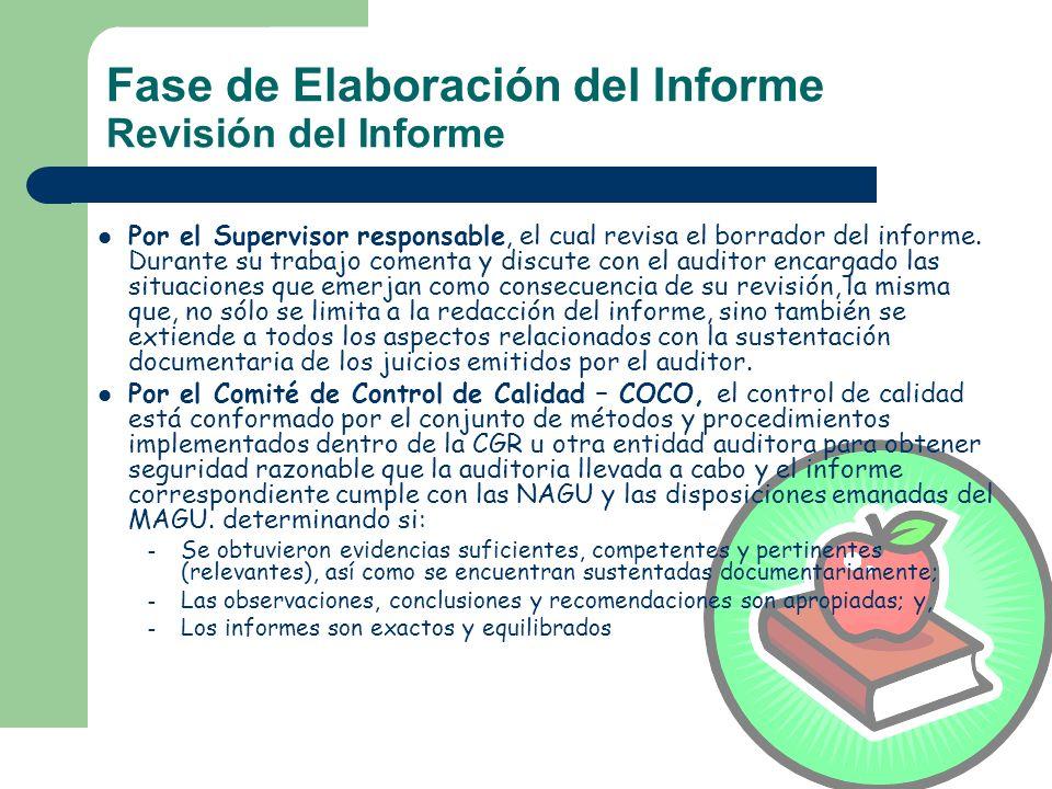 Fase de Elaboración del Informe Revisión del Informe