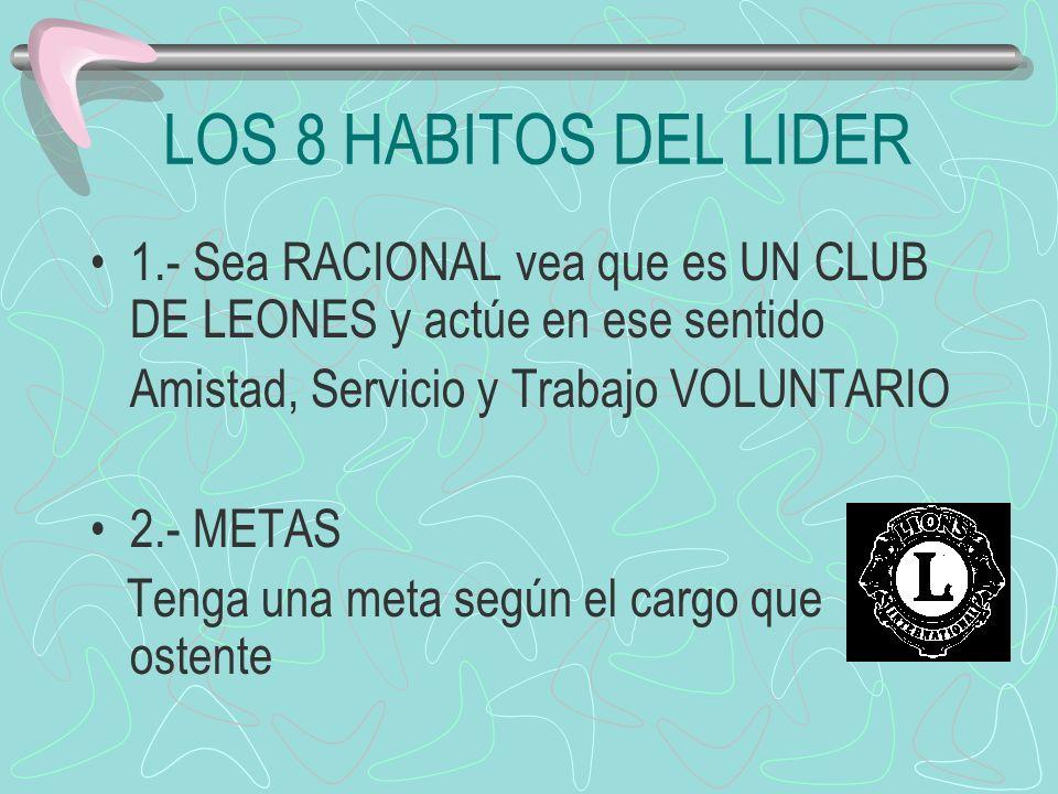 LOS 8 HABITOS DEL LIDER 1.- Sea RACIONAL vea que es UN CLUB DE LEONES y actúe en ese sentido. Amistad, Servicio y Trabajo VOLUNTARIO.