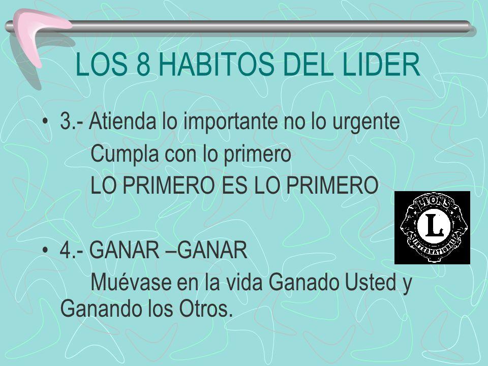LOS 8 HABITOS DEL LIDER 3.- Atienda lo importante no lo urgente