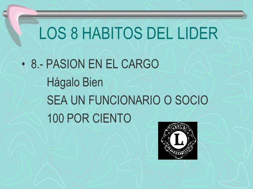 LOS 8 HABITOS DEL LIDER 8.- PASION EN EL CARGO Hágalo Bien