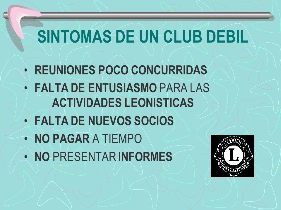 SINTOMAS DE UN CLUB DEBIL