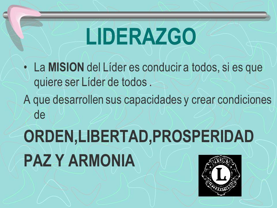 LIDERAZGO ORDEN,LIBERTAD,PROSPERIDAD PAZ Y ARMONIA