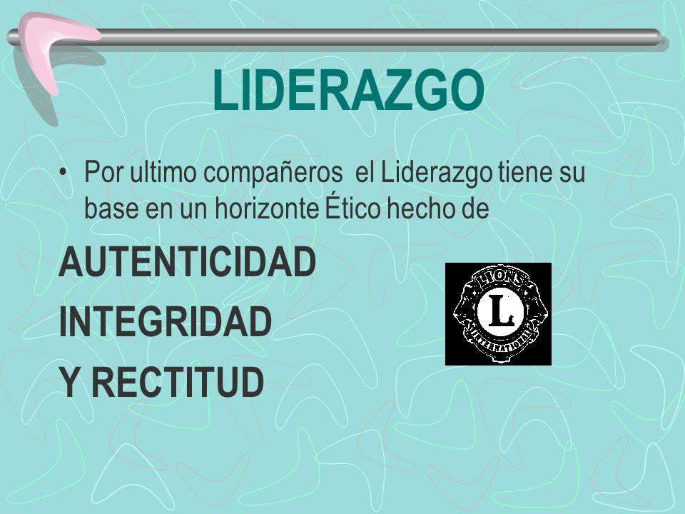 LIDERAZGO AUTENTICIDAD INTEGRIDAD Y RECTITUD