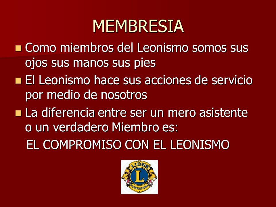 MEMBRESIA Como miembros del Leonismo somos sus ojos sus manos sus pies