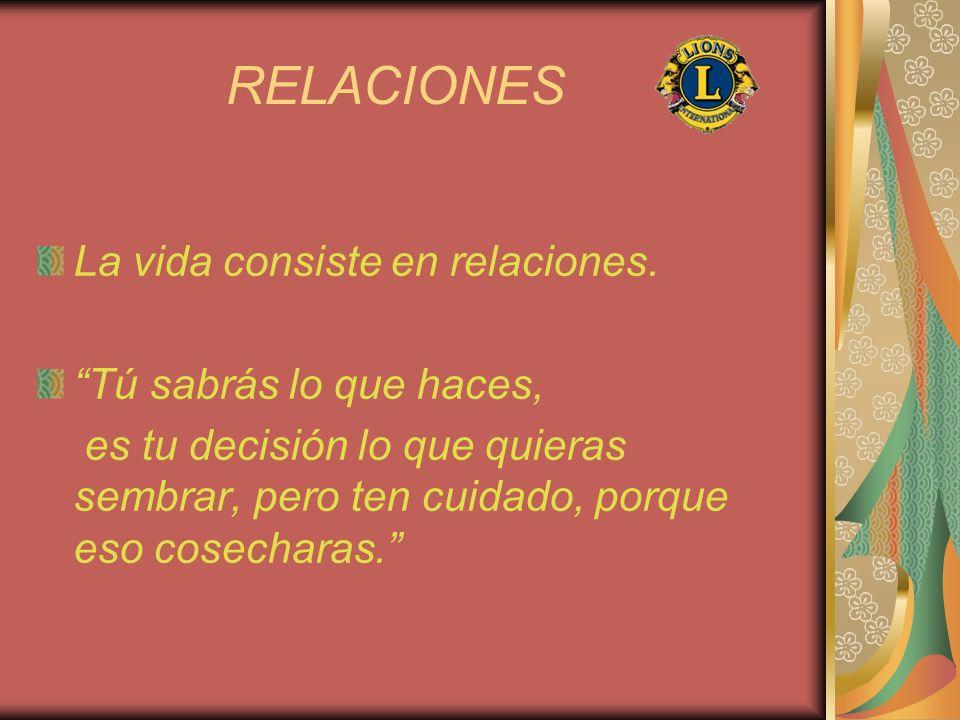 RELACIONES La vida consiste en relaciones. Tú sabrás lo que haces,