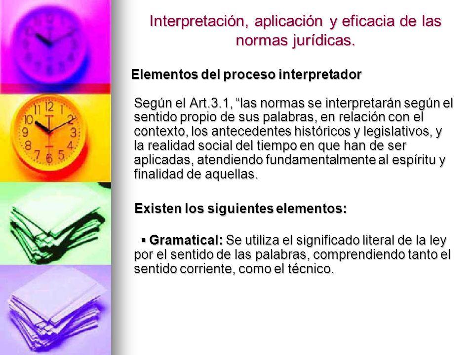 Interpretación, aplicación y eficacia de las normas jurídicas.